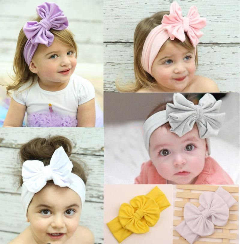 NEW ARRIVAL Baby Girls Solid Color Cotton Bow Elastic Turban Headband Hair Band