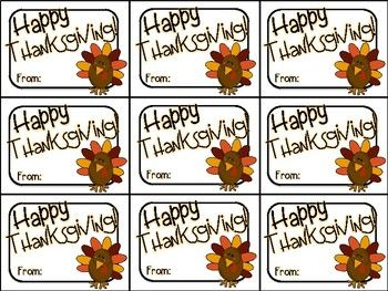 Printable Thanksgiving Gift Tag (Happy Thanksgiving)