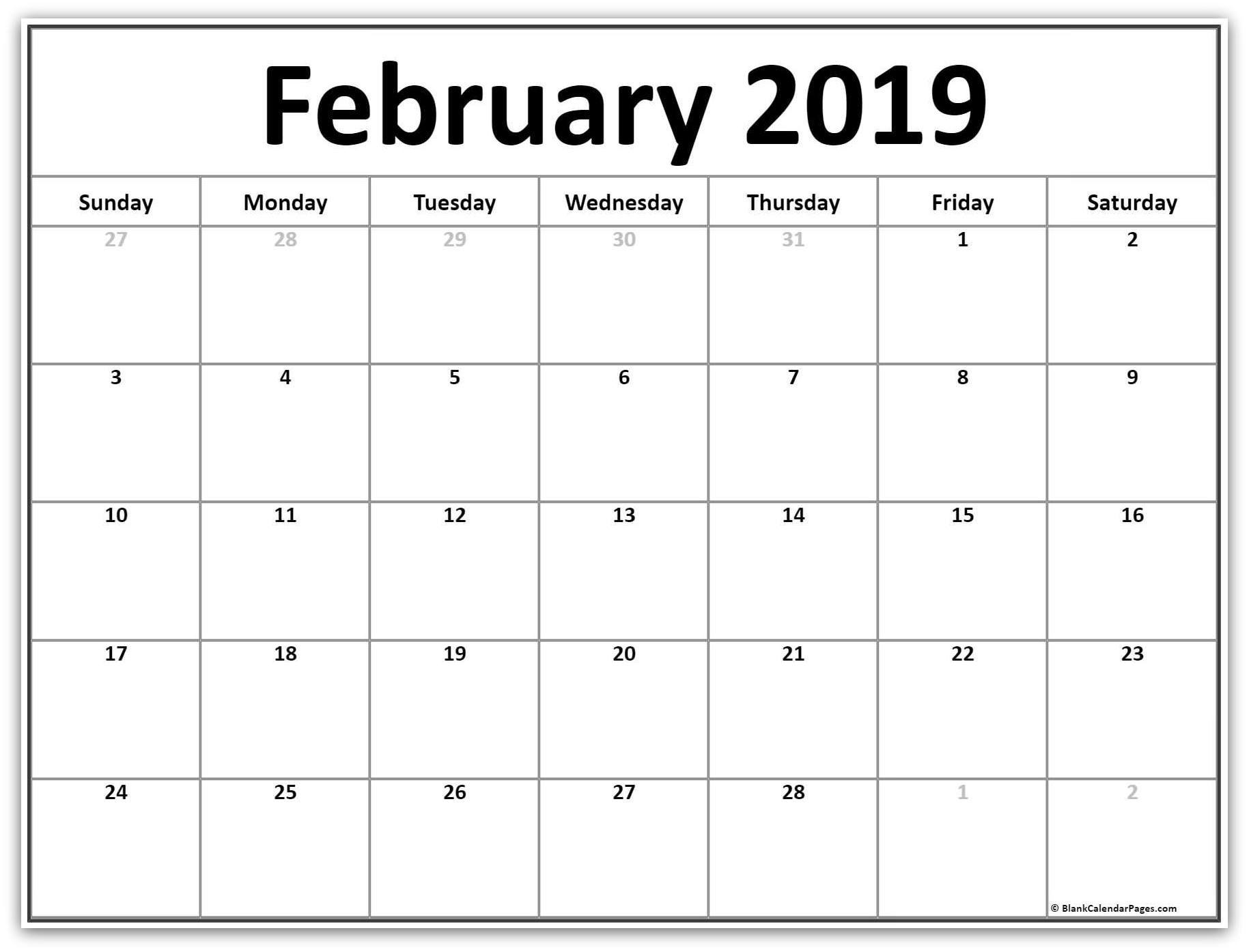 2019 Word Calendar For February blank february 2019 word calendar | 2019 Calendars | February