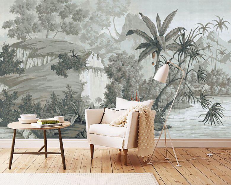 Tapisserie tropicale issue du0027un tableau de peinture classique - peindre sur papier vinyl