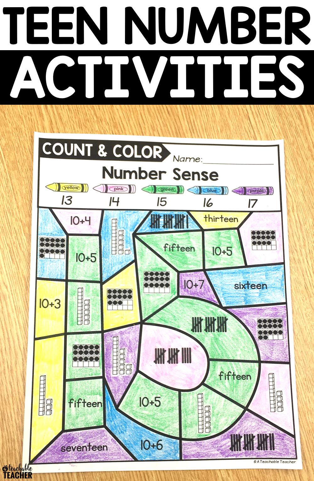 Color By TEEN Number Sense Activities | Teen numbers, Number ...