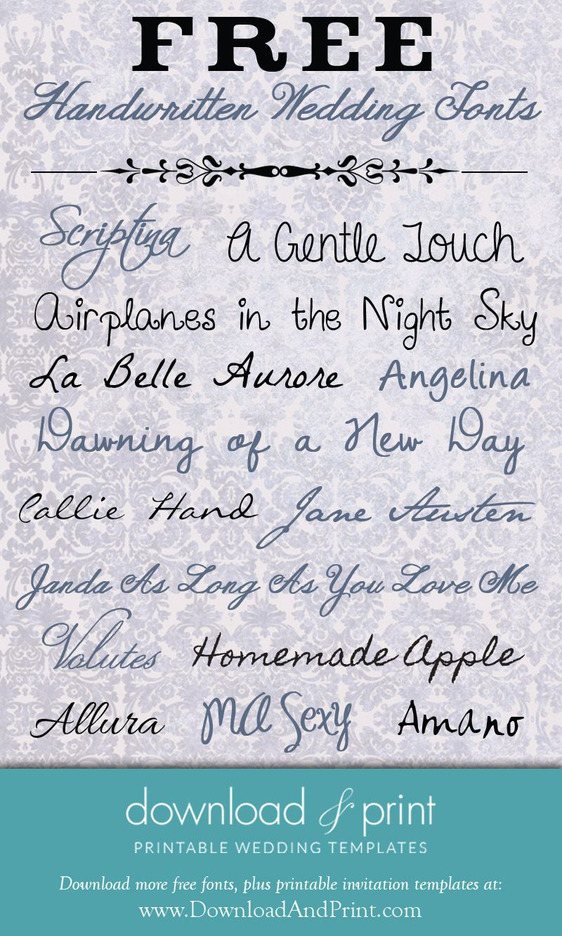Free Handwritten Wedding Fonts: Download and Print   Invitations ...
