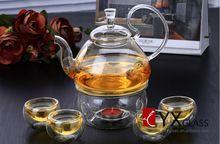 High borosilicate glass tea pot with handle flower tea pot