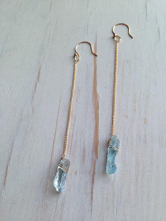 Raw Aquamarine Earrings Raw Aquamarine Jewelry Raw Gemstone Jewelry