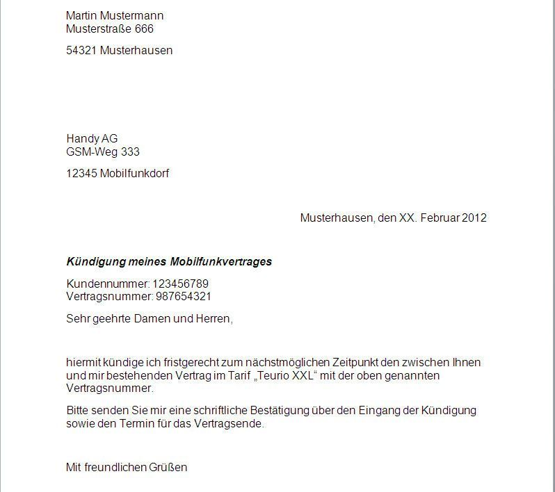 t mobile kndigung vorlage sterreich - Muster Kundigung Telekom