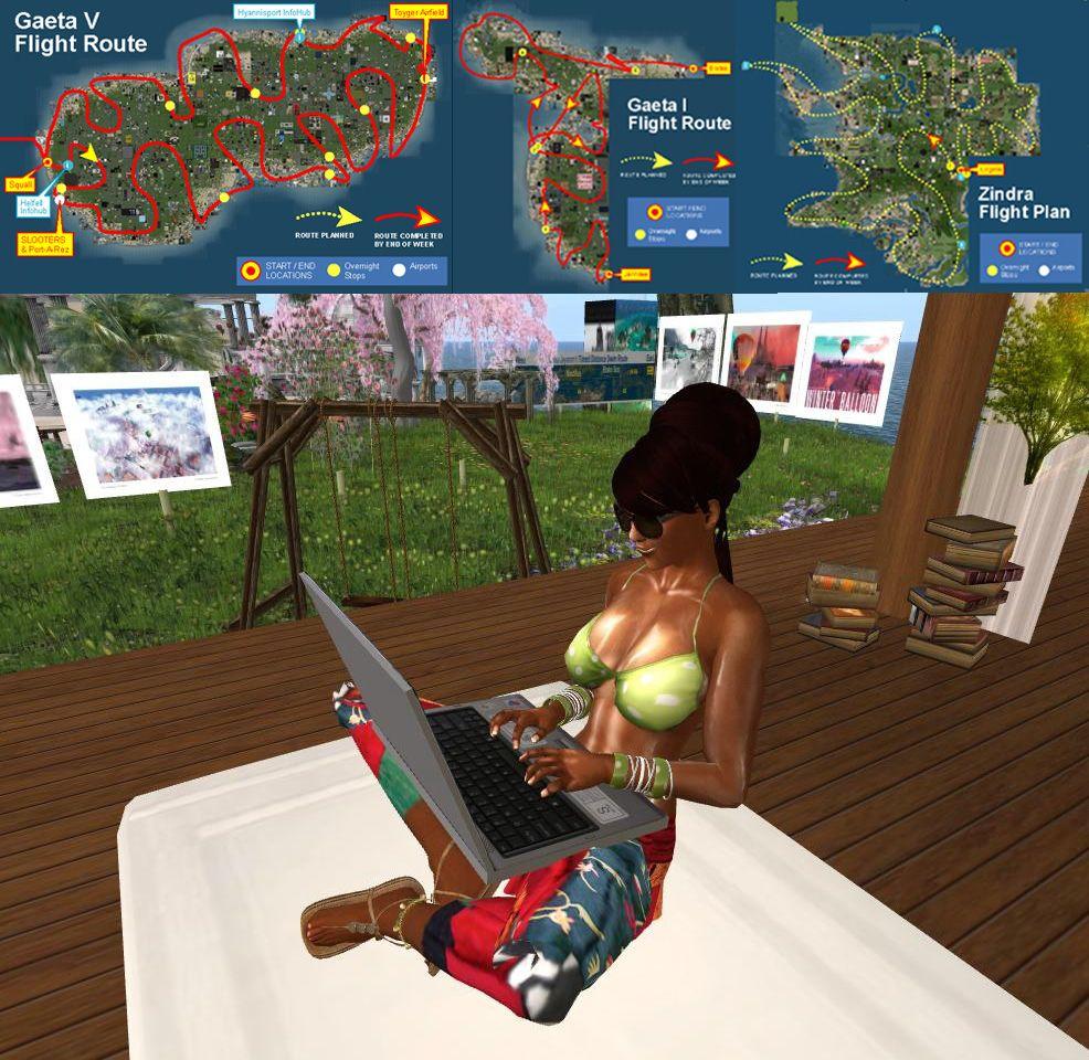Dahlia Jayaram works on writing her  Second Life travel adventure books from her garden gallery in Lenora.