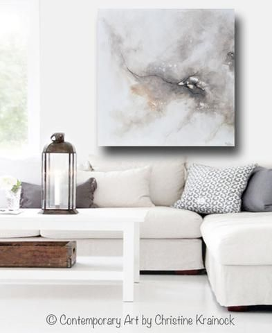 Original Art Abstract Grey White Painting Coastal Contemporary Modern Neutral Grey Taupe Wall Art Contemporary Home Decor Taupe Walls Home Decor