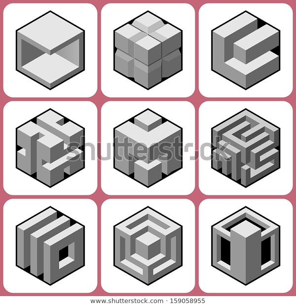 Cube Icons Set 2 Stock Vector Royalty Free 159058955 Geometric Shapes Design 3d Geometric Shapes Icon Set