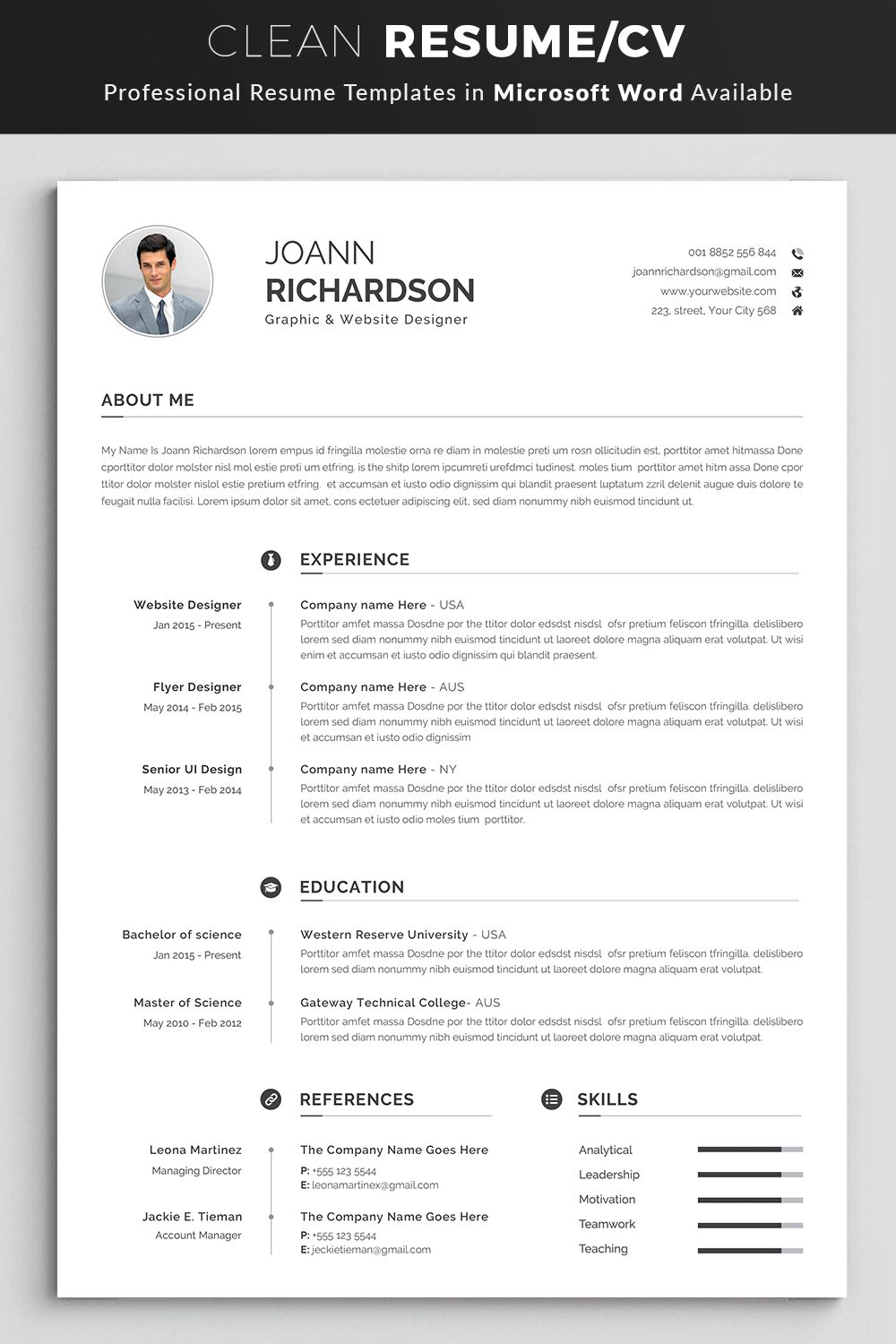 Modern And Creative Resume Template Modern Professional Etsy Resume Template Word Resume Words Creative Resume Templates