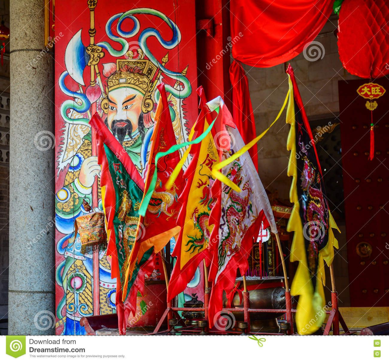 Flags For Decoration At Chinese Temple In Penang Malaysia Editorial Image Image Of Leaves Lotus 73580405 Leaf Images Flag Painting