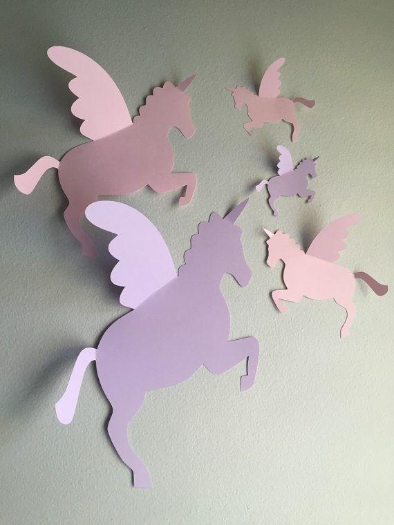 5 Paper Unicorn Wall Art 3d Unicorn Wall Decal Unicorns