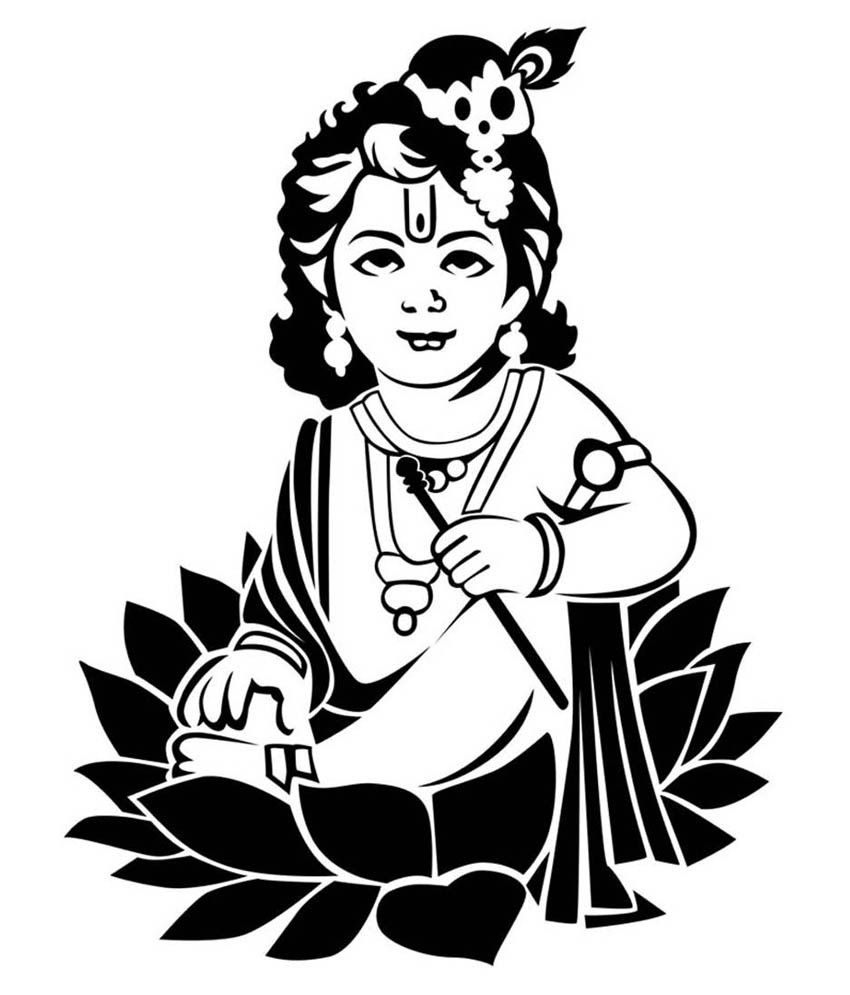 krishna line drawing - Google Search | Ganesha in 2019 ...