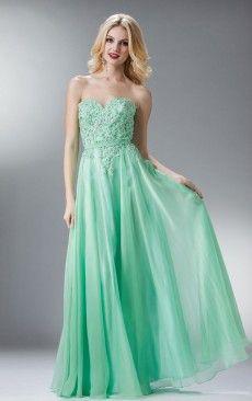 A-line Floor-length Sweetheart Appliqued Dress