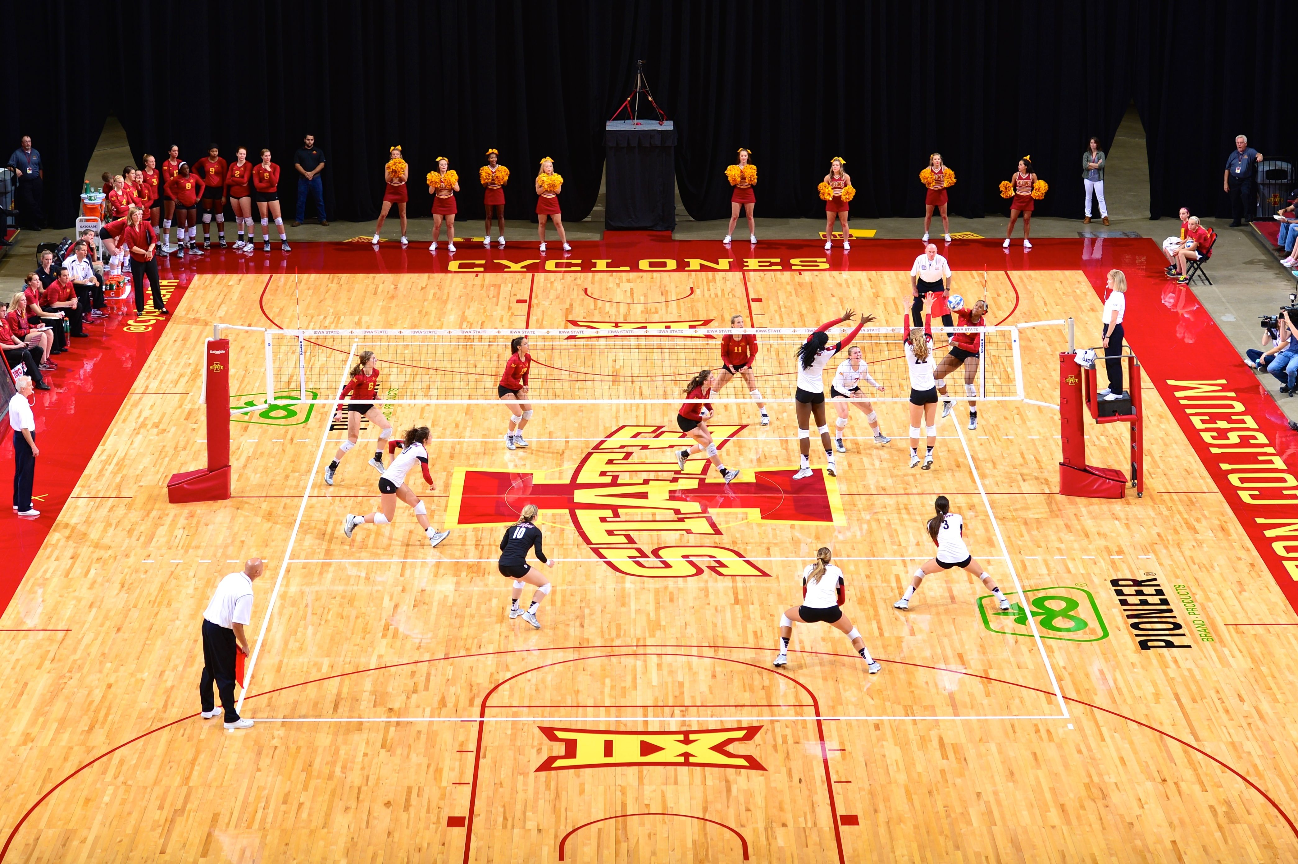 Aerial Shot Of The Cyclone Volleyball Team Vs Stanford During The 2014 Avca Showcase At Hilton Coliseum Volleyball Team Olympic Sports Iowa State