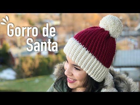 GORRO DE SANTA EN TELAR CIRCULAR - TUTORIAL  6f547df0c23