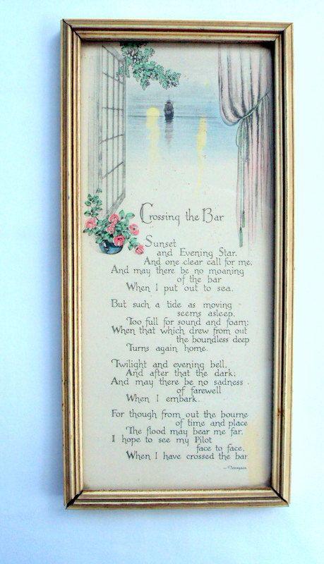 Vintage Tennyson Poem Crossing The Bar Original Frame Sea Etsy Tennyson Poems Poems Frame