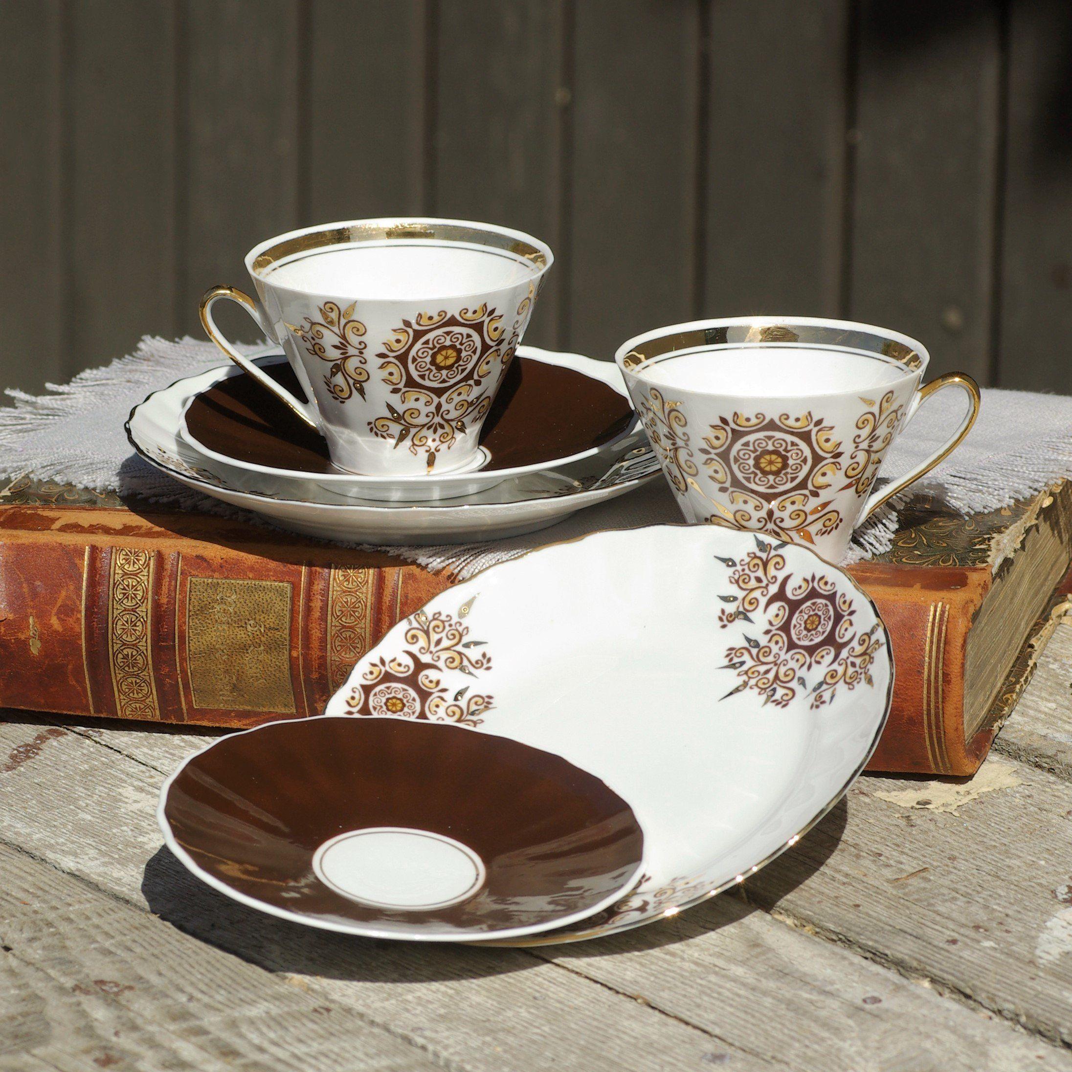 Coffee espresso set cups saucers cake plates bread