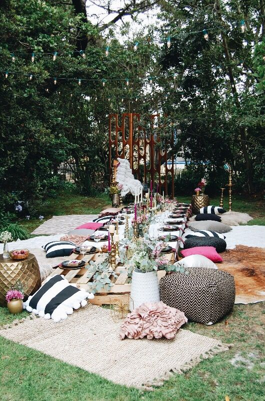 Boho Style Party Seating Your Guests Will Adore Boho Garden Party Backyard Party Garden Party Decorations