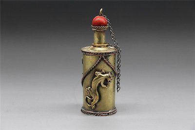 Vintage Handmade Brass Chinese Snuff Bottle