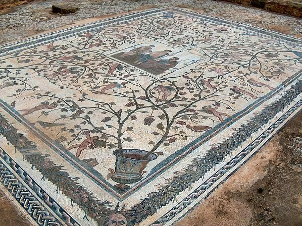 Mosaic floor from the House of Liberii, Oudna, Tunisia. It is without doubt the finest Roman mosaic in situ in all of Tunisia.