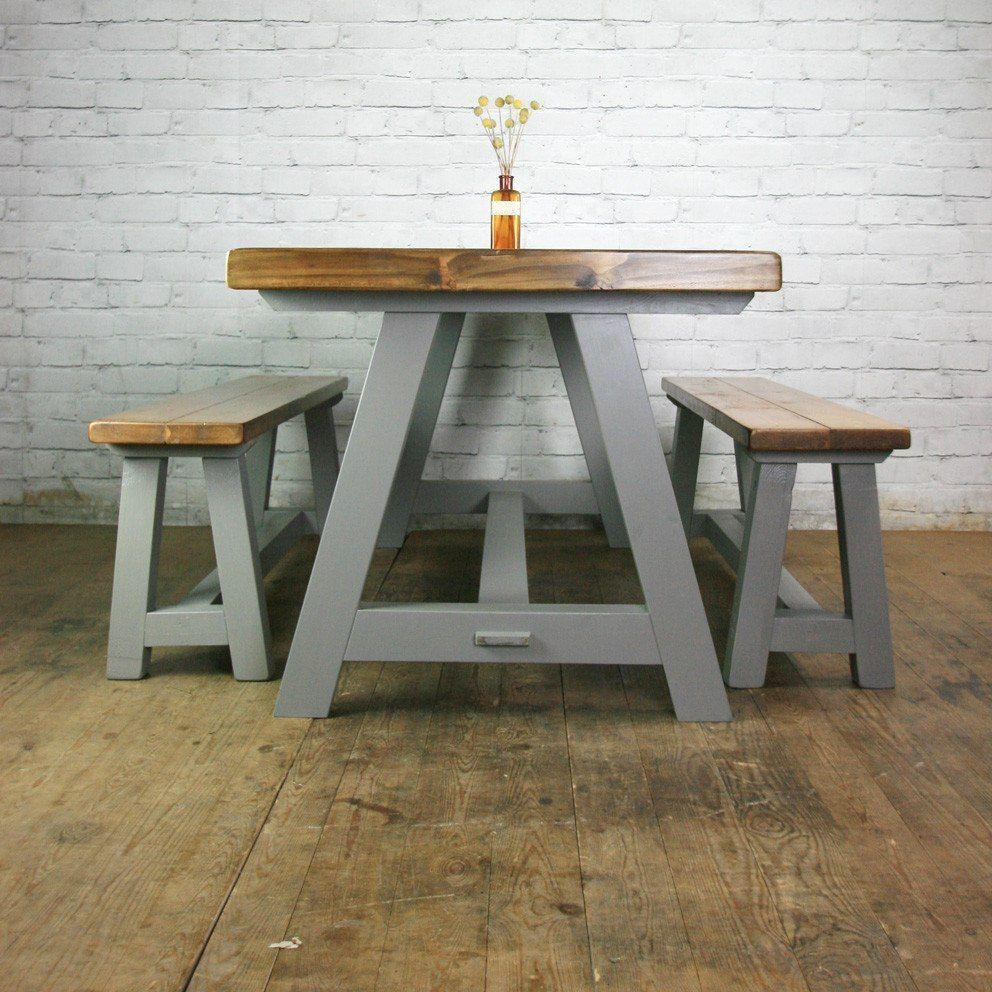 mesa comedor quincho con bancos madera vintage rustico