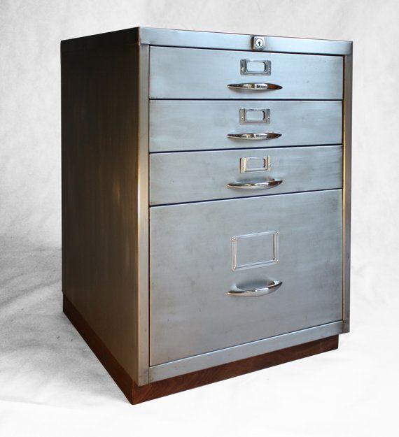 Beau Refurbished Retro Filing Cabinet With Walnut Base