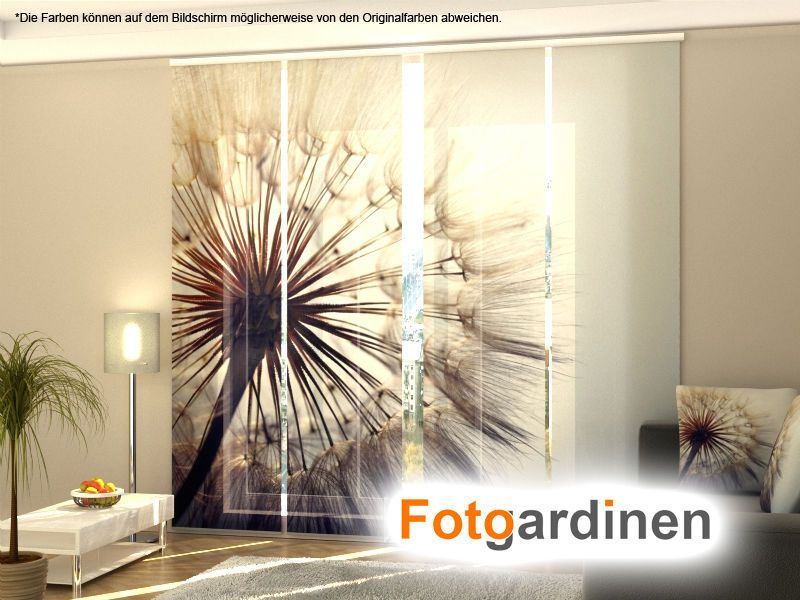 fotogardinen pusterblume schiebevorhang schiebegardinen 3d fotodruck auf ma ebay. Black Bedroom Furniture Sets. Home Design Ideas