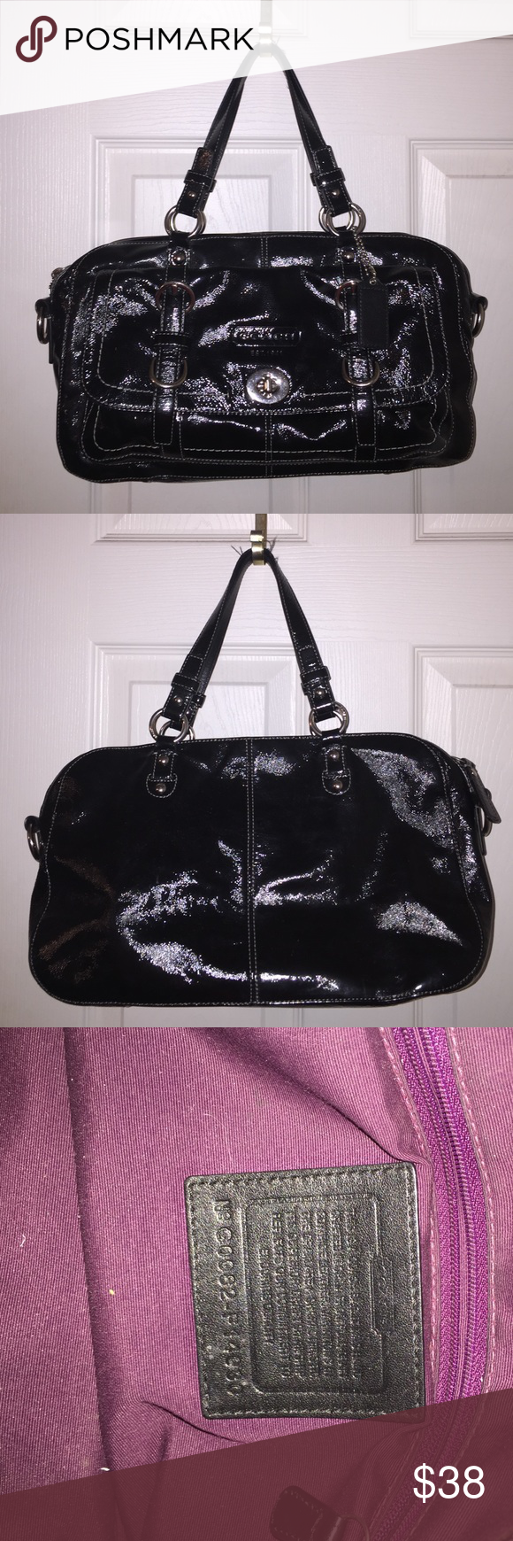 Black coach bag Worn a couple times. In like new condition, but handles are a little worn Coach Bags