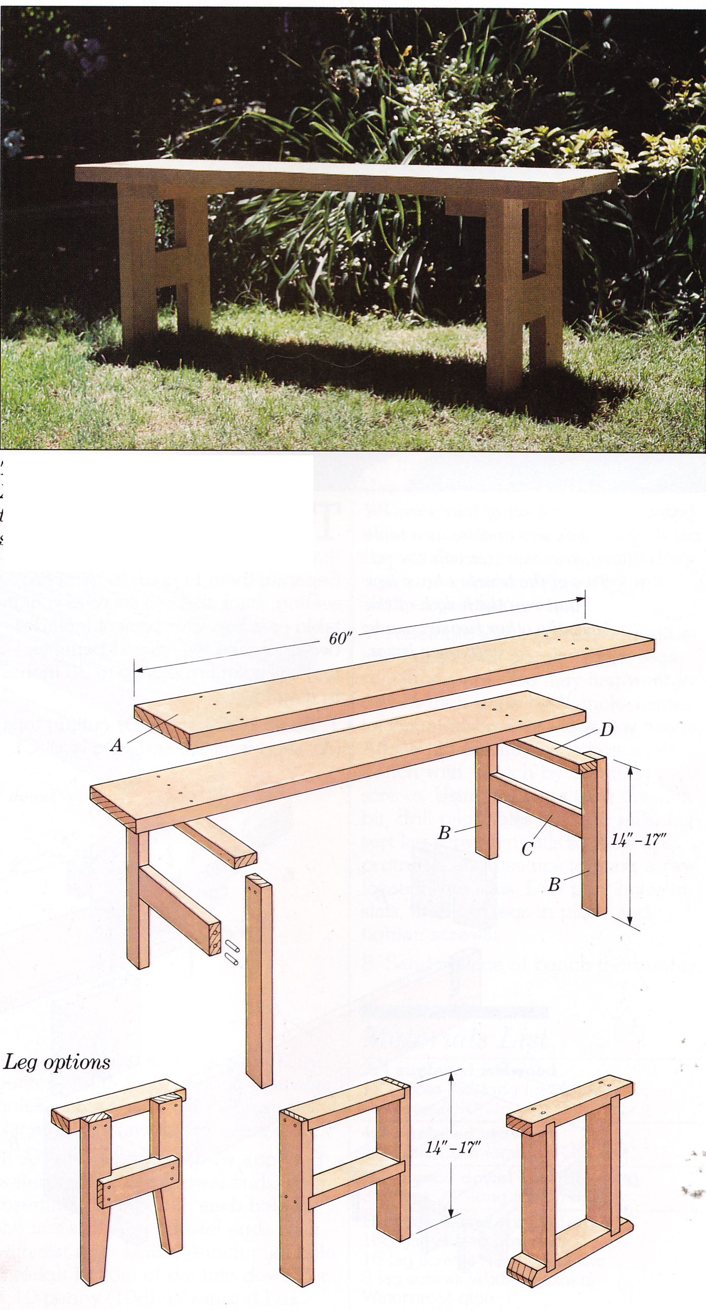 H-base garden bench from Wood Projects for the Garden by Ortho Books ...