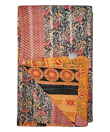 This Coral & Black Paisley Handmade Kantha Throw is perfect! #zulilyfinds