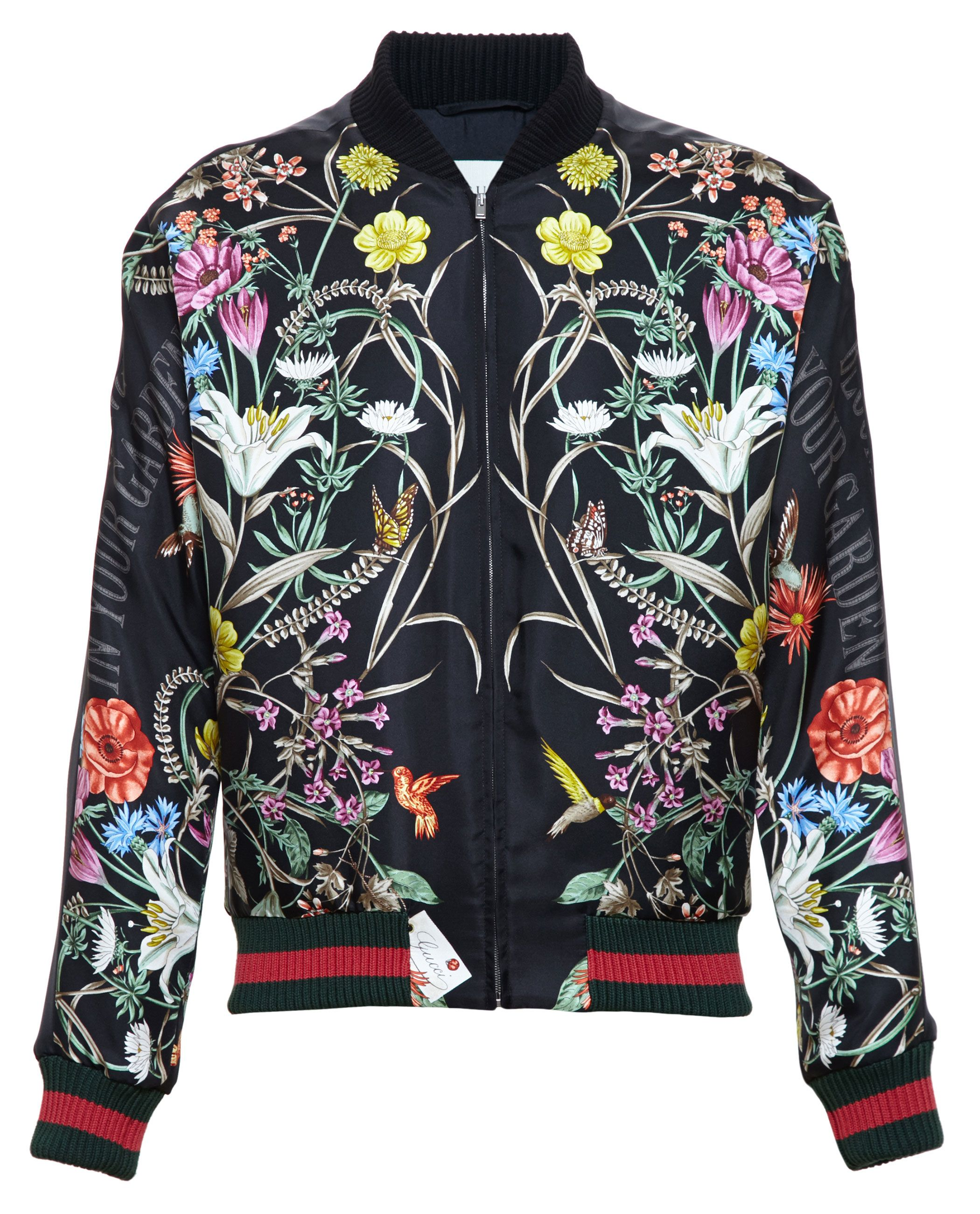 Women's Black Floral-print Embroidered Silk Bomber Jacket | Silk ...