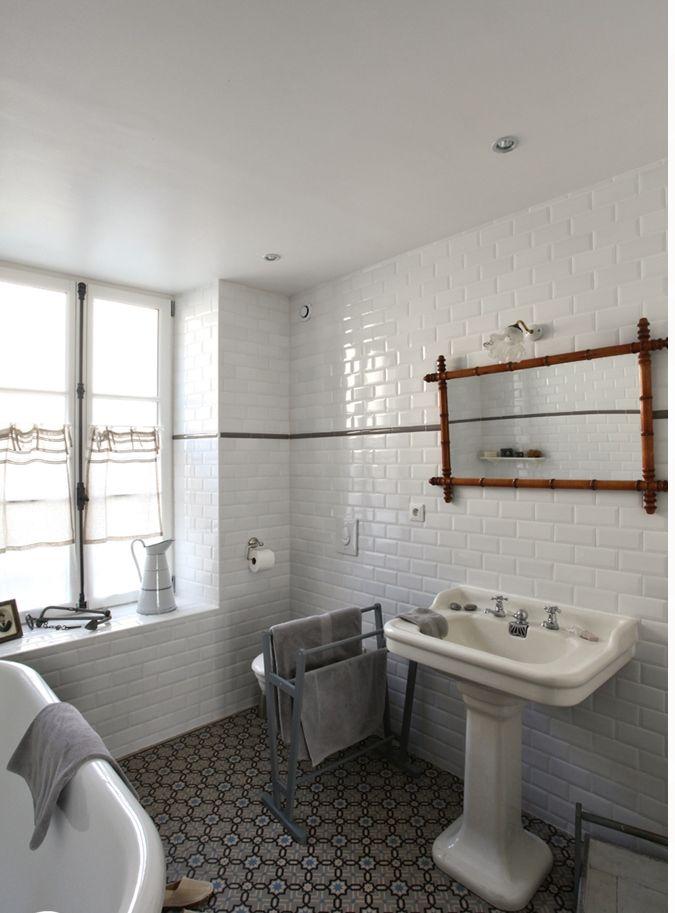 salle de bain carreaux de ciment / carrelage métro Bathroom