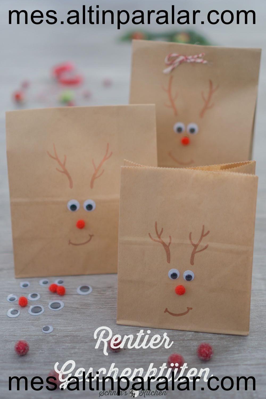 Les sacs-cadeaux rennes font pour le calendrier de l'Avent