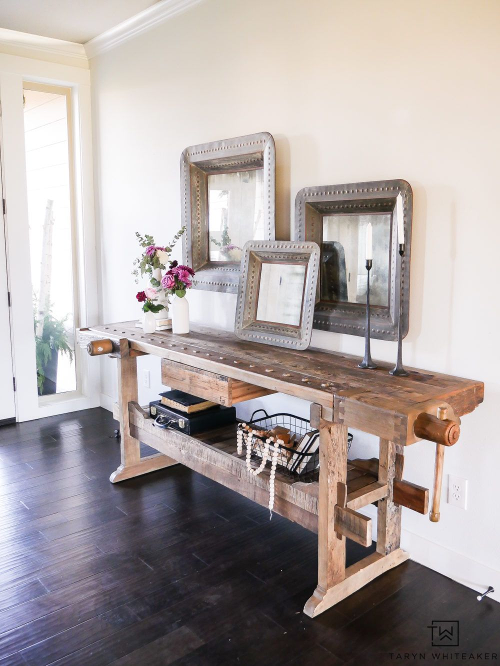 Give  welcoming look to your entry way with wood console table decorated large scale items and soft fresh flowers mixing industrial famine also spring taryn whiteaker diy pinterest entryway rh