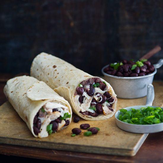 Chicken Burritos With Black Bean Salsa And Pepper Jack Chicken