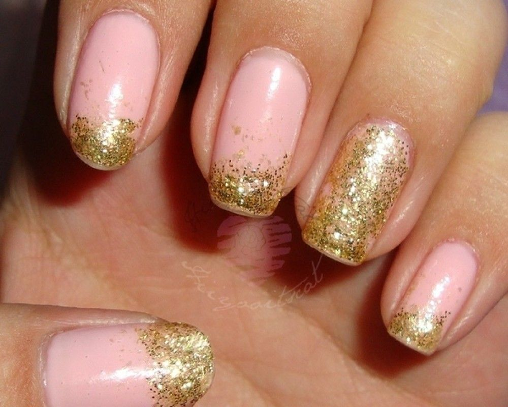Pink and Gold Glitter Nail Art - Pink And Gold Glitter Nail Art Nail Art And Colours Pinterest