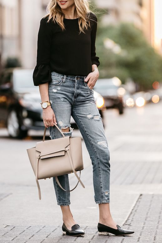 ae910b5b095 Dallas Style Fall Outfit Idea Bell Sleeve Top Distressed Ripped Jeans  Nicholas Kirkwood Pearl Loafers Taupe Tan Celine Tote Bag Fashion Jackson Blogger  Le ...