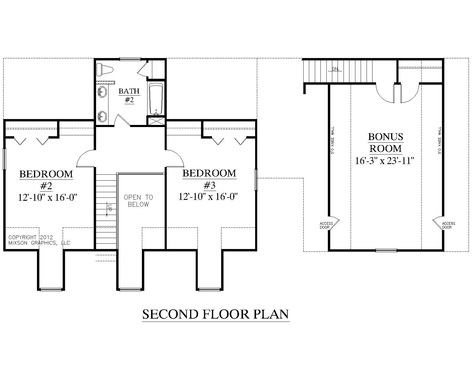 House plan 2091 b mayfield b second floor plan for 3 bedroom floor plans with bonus room