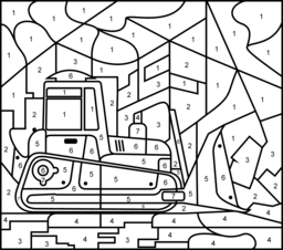 bulldozer printable color by number page hard - Bulldozer Coloring Pages
