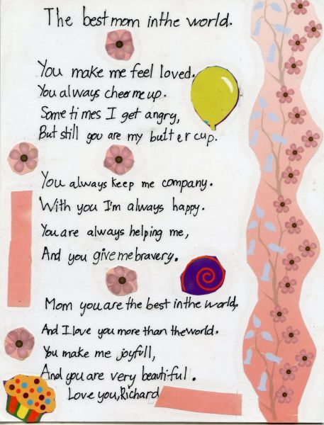 A Mothers Day Poem For Kids Mothers Day Poems From Kids To Their