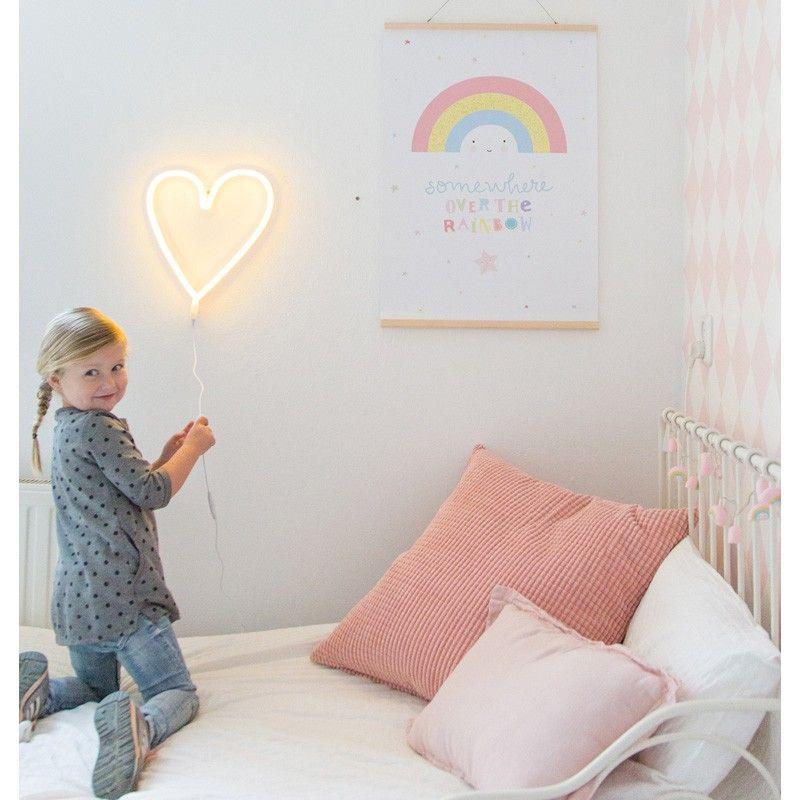 neon lampe heart in gelb mit led lichtern 29 x 30 cm von a little lovely company. Black Bedroom Furniture Sets. Home Design Ideas