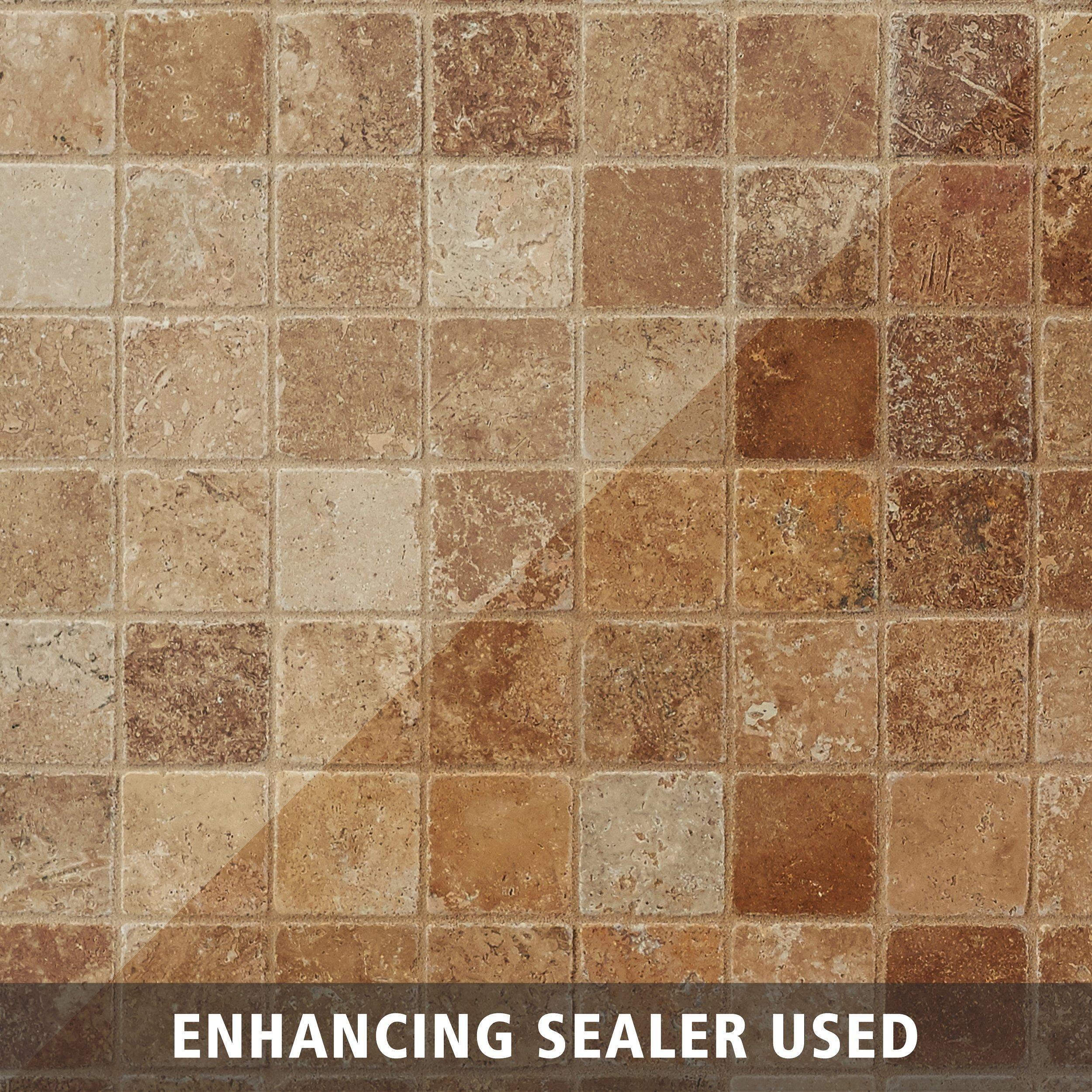 - Noce Travertine Mosaic Flooring, Travertine, Decorative Tile