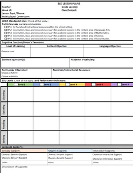 Interactive Wida Standards Lesson Plan Template EslEldEll