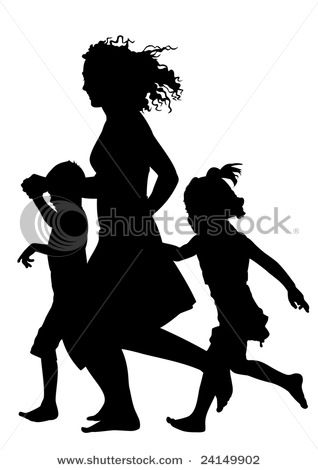 Mother with Children Running and Playing Silhouette Vector ...