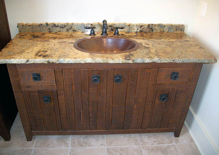 Charming Reclaimed Wood Vanity Bathroom | Love The Way This Granite Has Been Chosen  To Blend In