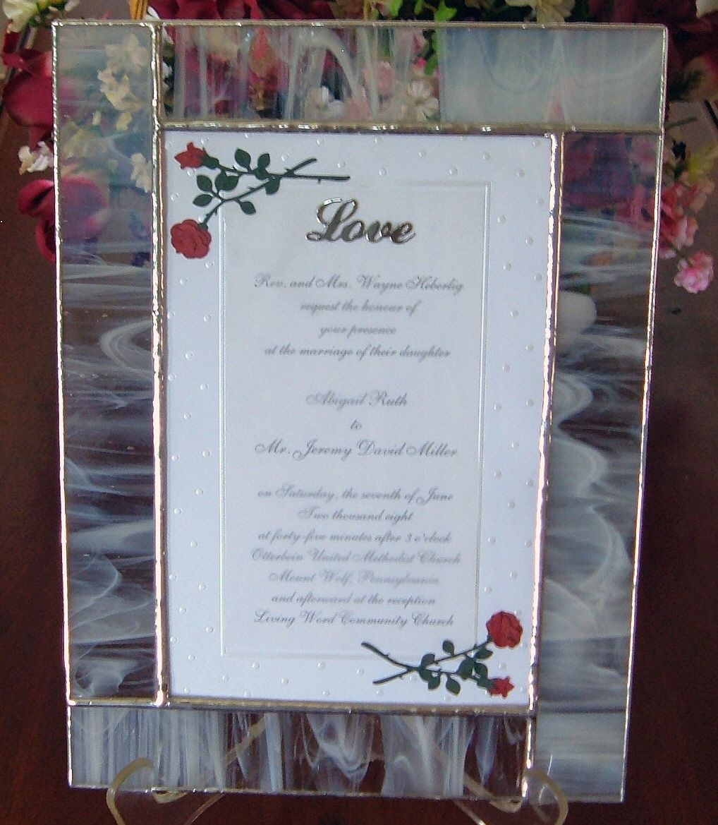 Wedding Invitation sealed in a stained glass frame and embellished ...