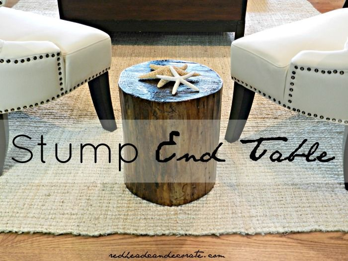 Stump Table   Winter Beach Lodge Living Room Part 3 - Redhead Can DecorateRedhead Can Decorate