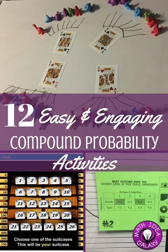 12 easy activities for teaching compound probability pinterest check out these 12 ideas and resources for teaching students all about probability includes free tree diagram student activity guide ccuart Images