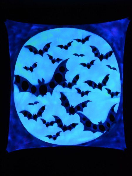 "Psywork Schwarzlicht Segel Spandex ""Halloween Bats"" #blacklight #schwarzlicht #schwarzlicht.de #psywork #neon #glow #psy #party #deco #spandex #stretch #effects"