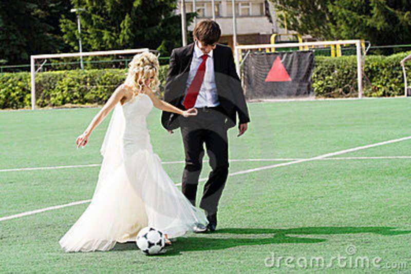 Wedding Couple Playing Football
